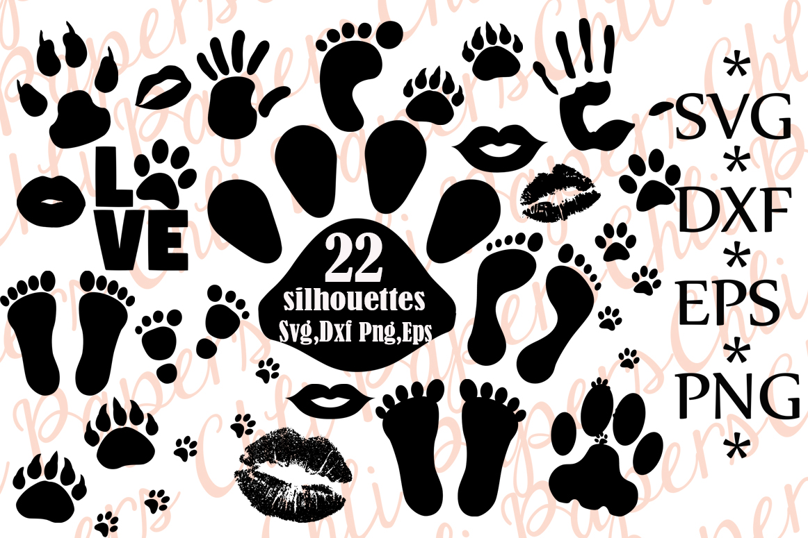 Download Free Paw Prints Silhouettes Graphic By Chilipapers Creative Fabrica for Cricut Explore, Silhouette and other cutting machines.