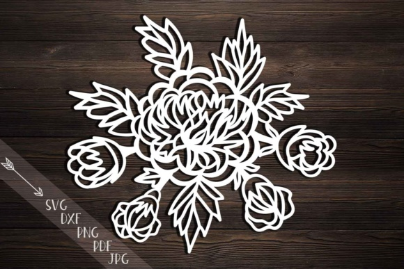 Peonies Svg, Cutting Template, Peony Papercutting, Hand Cutting Templates, Flowers, Rose Svg File, Peonies Bouquet, Laser Cut, Dxf Pdf Png Graphic Crafts By Cornelia