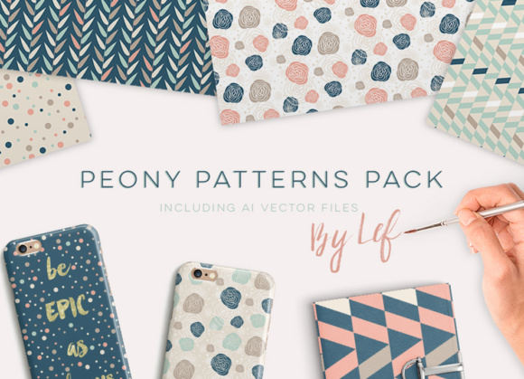 Peony Pattern Collection Including Vector Files and Swatches Graphic Patterns By By Lef