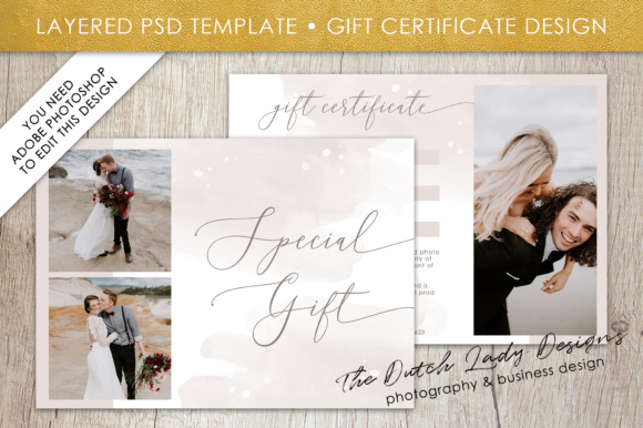 Print on Demand: Photography Gift Certificate Template Graphic Presentation Templates By daphnepopuliers