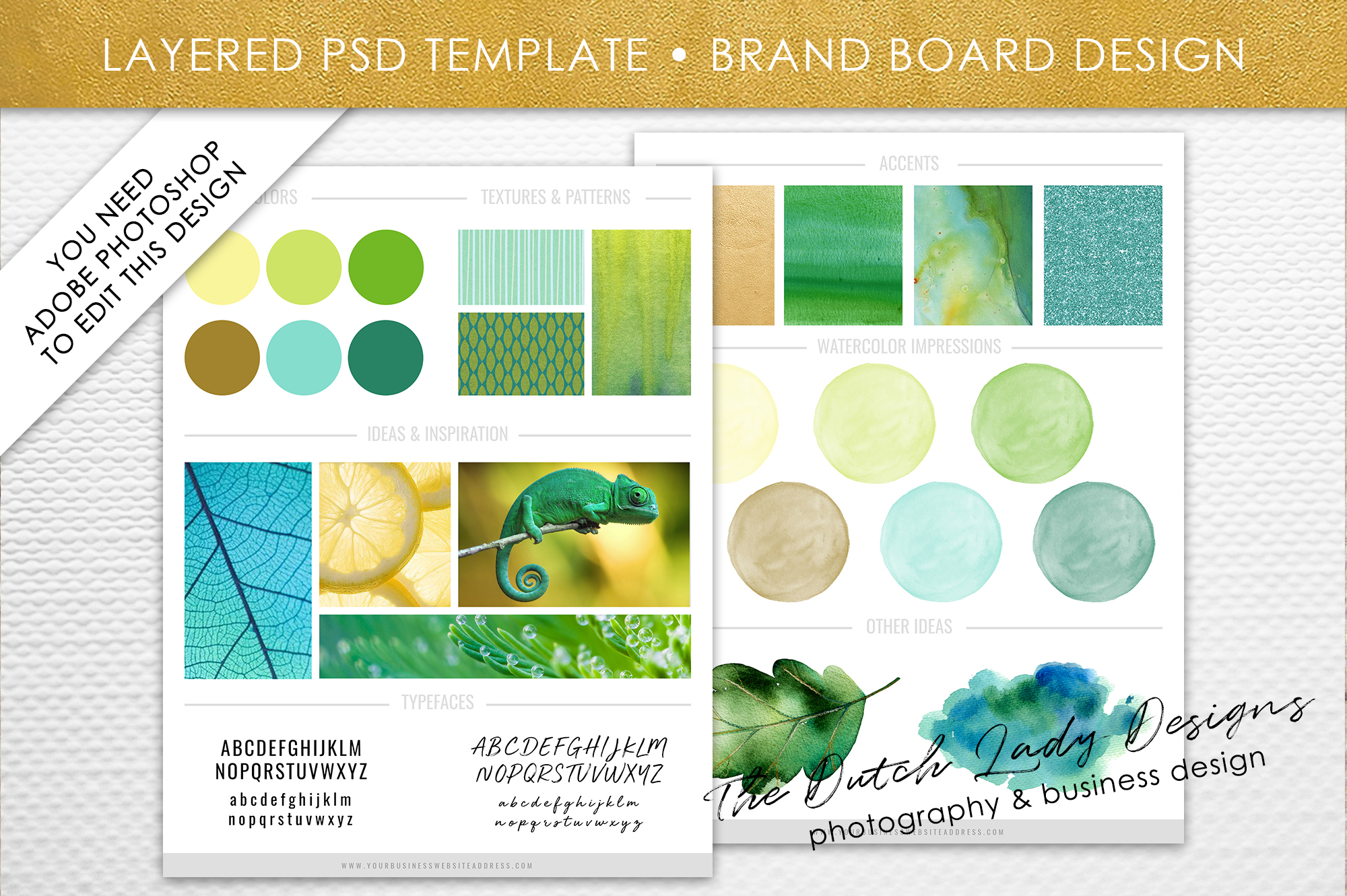 Download Free Photoshop Brand Board Template Graphic By Daphnepopuliers for Cricut Explore, Silhouette and other cutting machines.