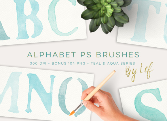 Photoshop Brushes Painted Alphabet Including Teal Bonus Clipart Graphic Brushes By By Lef