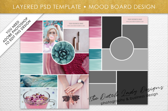 Print on Demand: Photoshop Mood Board Template Graphic Presentation Templates By daphnepopuliers