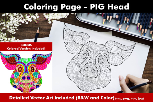 Pig Face Coloring Page for Adults Graphic Coloring Pages & Books Adults By ColoringBooks101
