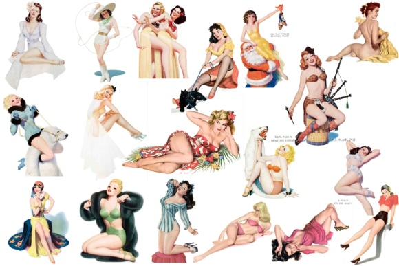 Print on Demand: Pin Up Girls  Clip Art Graphic Illustrations By retrowalldecor