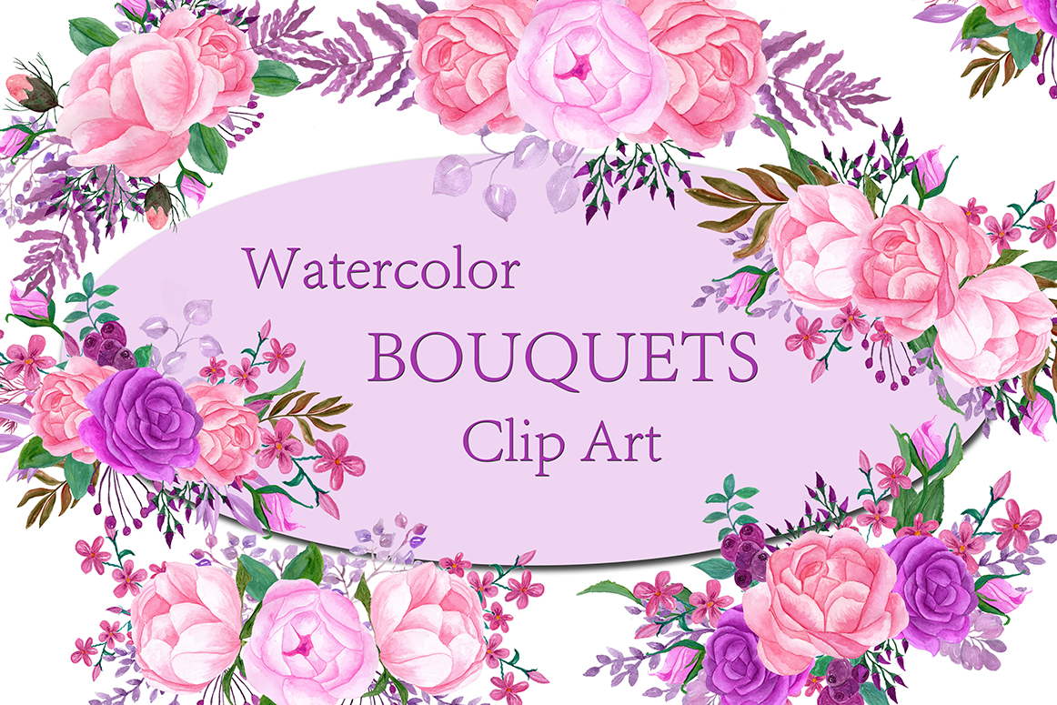 Pink watercolor bouquets clip artfloral bouquetspink flowers pink watercolor bouquets clip artfloral bouquetspink flowers bouquet flowers wedding invitation graphic by chilipapers creative fabrica izmirmasajfo