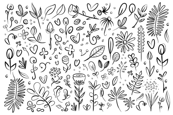 Print on Demand: Plant & Flower Specimen Doodle Clip Art Set Graphic Illustrations By Running With Foxes - Image 2