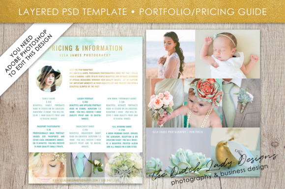 Print on Demand: Price List & Portfolio Page for Photographers Graphic Presentation Templates By daphnepopuliers - Image 1