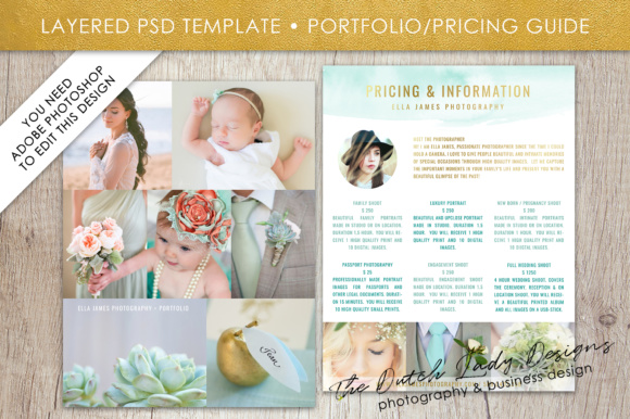 Print on Demand: Price List & Portfolio Page for Photographers Graphic Presentation Templates By daphnepopuliers - Image 2