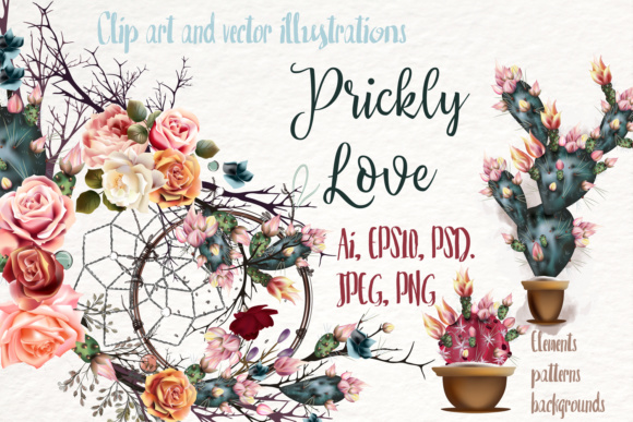 Prickly Love Clipart Set Graphic Illustrations By fleurartmariia