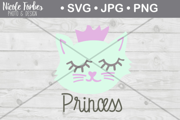 Download Free Princess Cat Cut File Graphic By Nicole Forbes Designs for Cricut Explore, Silhouette and other cutting machines.