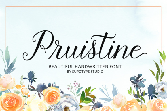 Print on Demand: Pruistine Script Script & Handwritten Font By supotype