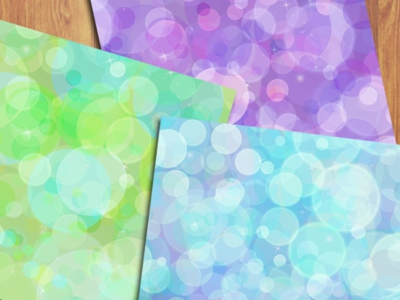 Rainbow Bokeh Digital Papers Graphic Backgrounds By GreenLightIdeas - Image 2
