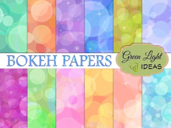Rainbow Bokeh Digital Papers Graphic Backgrounds By GreenLightIdeas