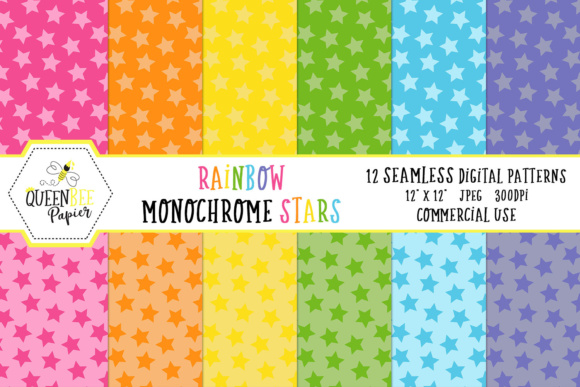 Rainbow Monochrome Stars Seamless Digital Paper Graphic Backgrounds By Queen Bee Papier
