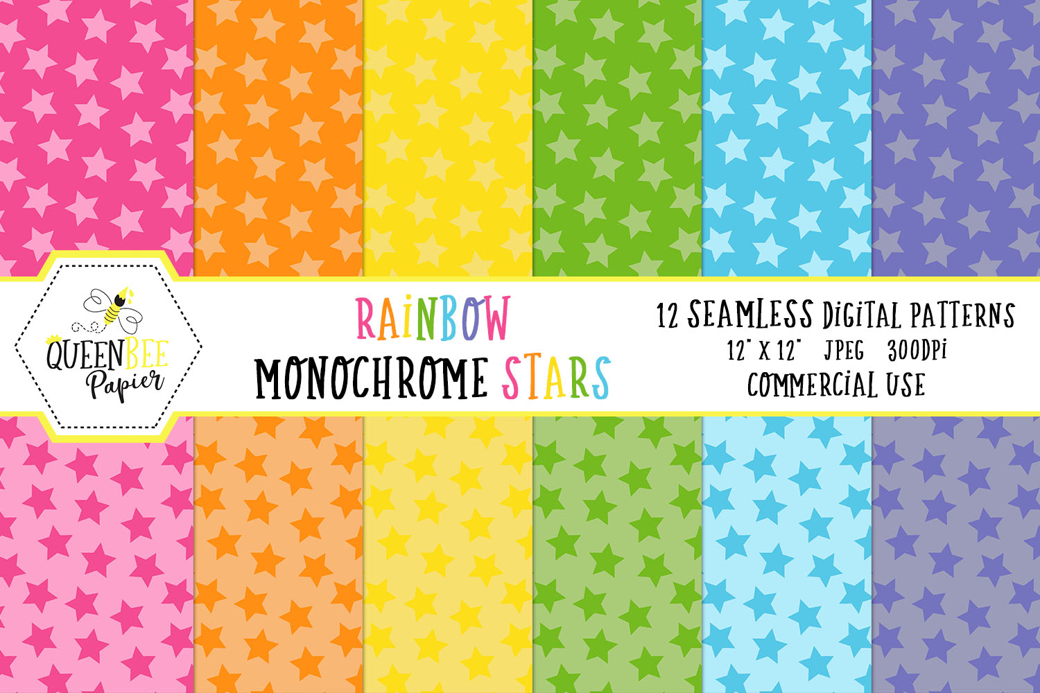 Download Free Rainbow Monochrome Stars Seamless Digital Paper Graphic By Queen for Cricut Explore, Silhouette and other cutting machines.