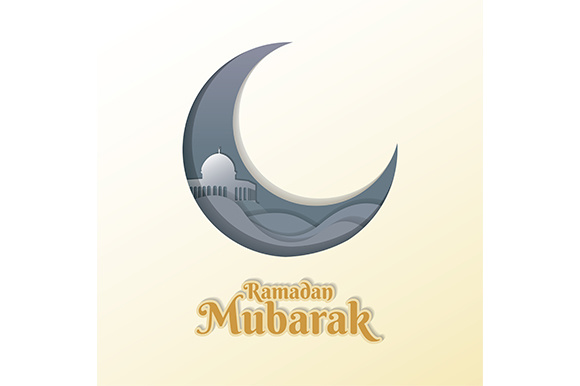 Ramadan Mubarak Vector Illustration. Clean Elegant Ramadan Greeting with Mosque Dome Design (14) Graphic Illustrations By indostudio