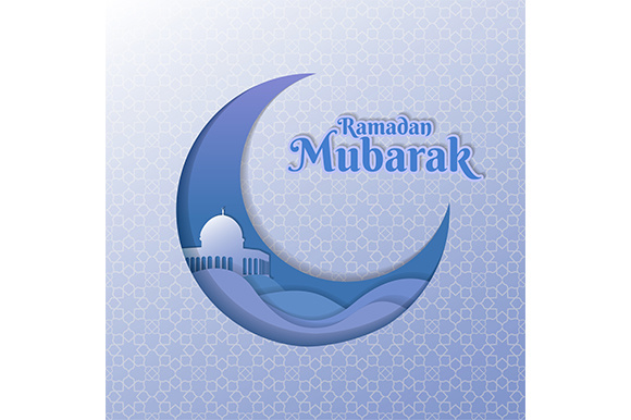Ramadan Mubarak Vector Illustration. Clean Elegant Ramadan Greeting with Mosque Dome Design Graphic Illustrations By indostudio