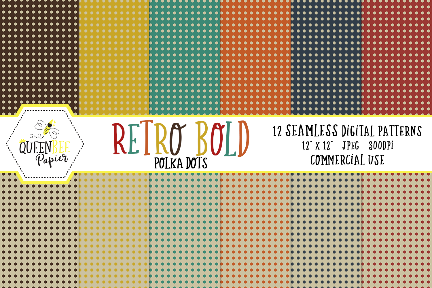 Download Free Retro Seamless Polka Dots Digital Paper Graphic By Queen Bee for Cricut Explore, Silhouette and other cutting machines.