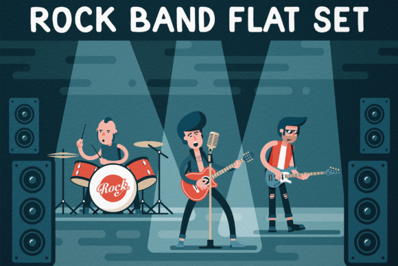 Rock Band Flat Set Graphic By Agor2012