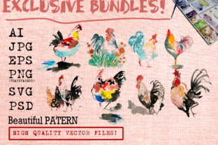 Rooster Watercolor Set Graphic Illustrations By Ambar Art
