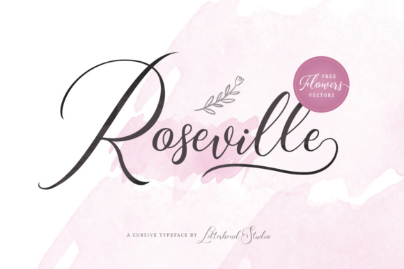 Print on Demand: Roseville Script Script & Handwritten Font By letterhend