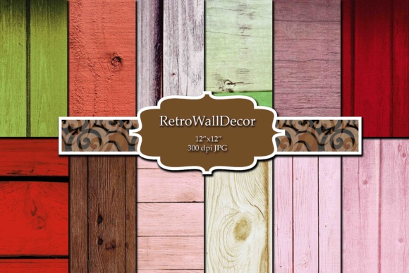 Print on Demand: Rustic Wood Digital Paper Set Graphic Backgrounds By retrowalldecor
