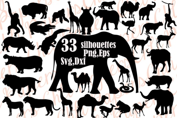 Safari Animals Silhouette Bundle Graphic Crafts By ChiliPapers