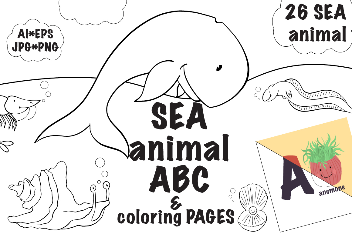Download Free Sea Animal Abc Coloring Pages Graphic By Gennadii Art for Cricut Explore, Silhouette and other cutting machines.
