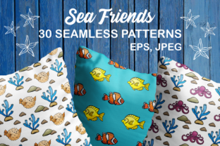 Sea Friends Seamless Patterns Graphic By Olga Belova
