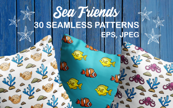 Print on Demand: Sea Friends Seamless Patterns Graphic Patterns By Olga Belova