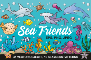 Sea Friends Vector Doodles and Seamless Patterns Graphic By Olga Belova