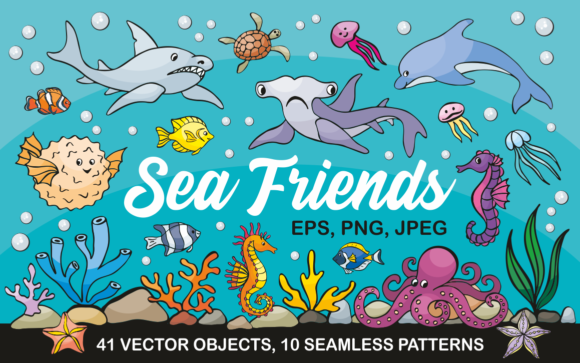 Print on Demand: Sea Friends Vector Doodles and Seamless Patterns Graphic Illustrations By Olga Belova