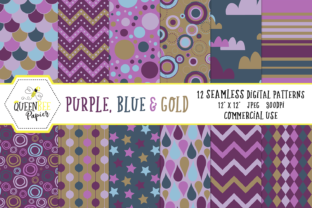 Seamless Blue, Purple & Gold Digital Paper Graphic By Queen Bee Papier