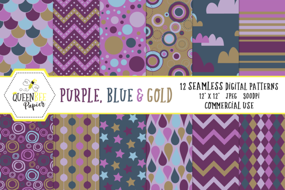 Seamless Blue, Purple & Gold Digital Paper Graphic Backgrounds By Queen Bee Papier