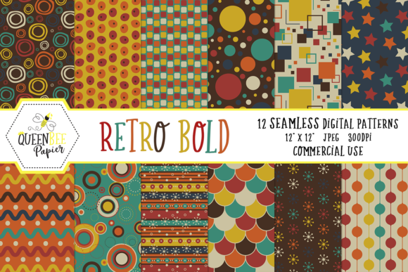 Seamless Bold Retro Digital Paper Graphic Backgrounds By Queen Bee Papier