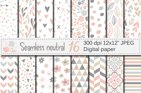 Seamless Neutral Digital Paper Pack Graphic Patterns By VR Digital Design