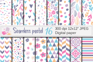 Seamless Pastel Digital Paper Pack Graphic Patterns By VR Digital Design