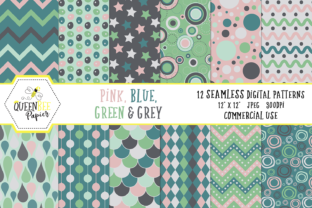 Seamless Pink, Blue, Green, & Grey Digital Paper Graphic By Queen Bee Papier