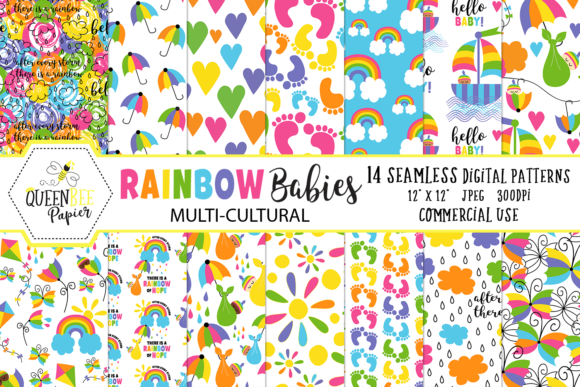 Seamless Rainbow Baby Digital Paper Graphic Backgrounds By Queen Bee Papier