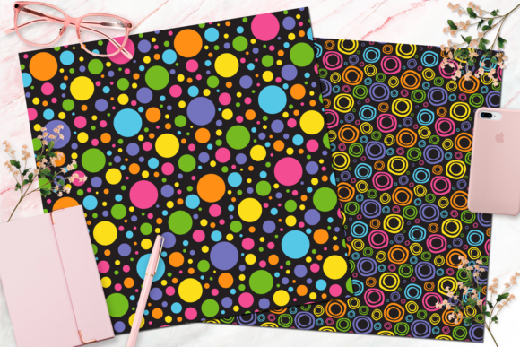 Seamless Rainbow Black Digital Paper Graphic Backgrounds By Queen Bee Papier - Image 2