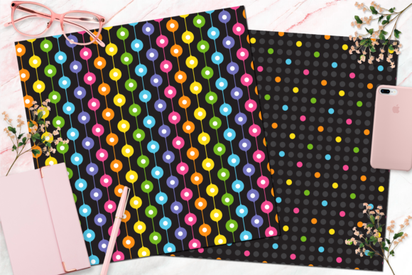 Seamless Rainbow Black Digital Paper Graphic Backgrounds By Queen Bee Papier - Image 3