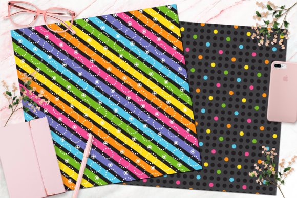 Seamless Rainbow Black Digital Paper Graphic Backgrounds By Queen Bee Papier - Image 4