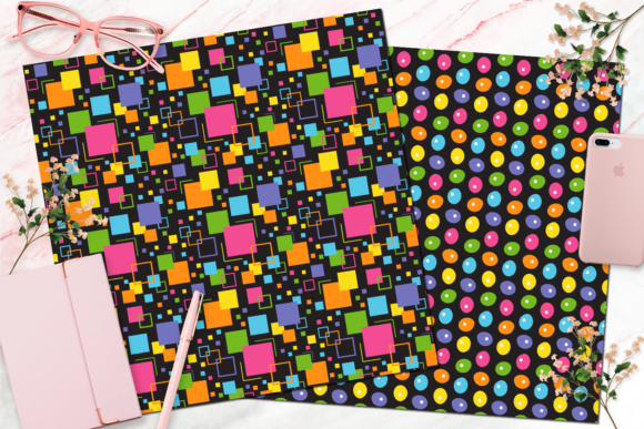 Seamless Rainbow Black Digital Paper Graphic Backgrounds By Queen Bee Papier - Image 6