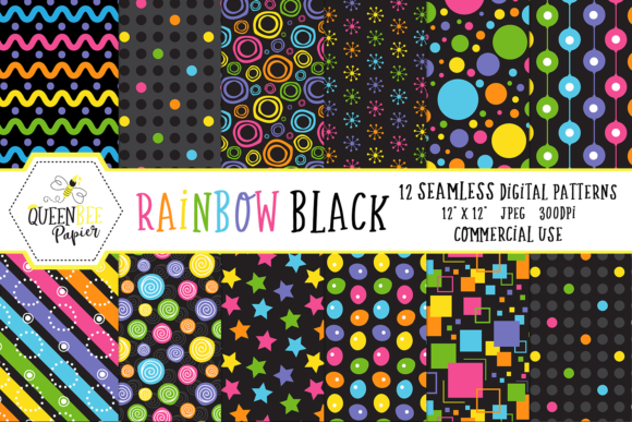 Seamless Rainbow Black Digital Paper Graphic Backgrounds By Queen Bee Papier
