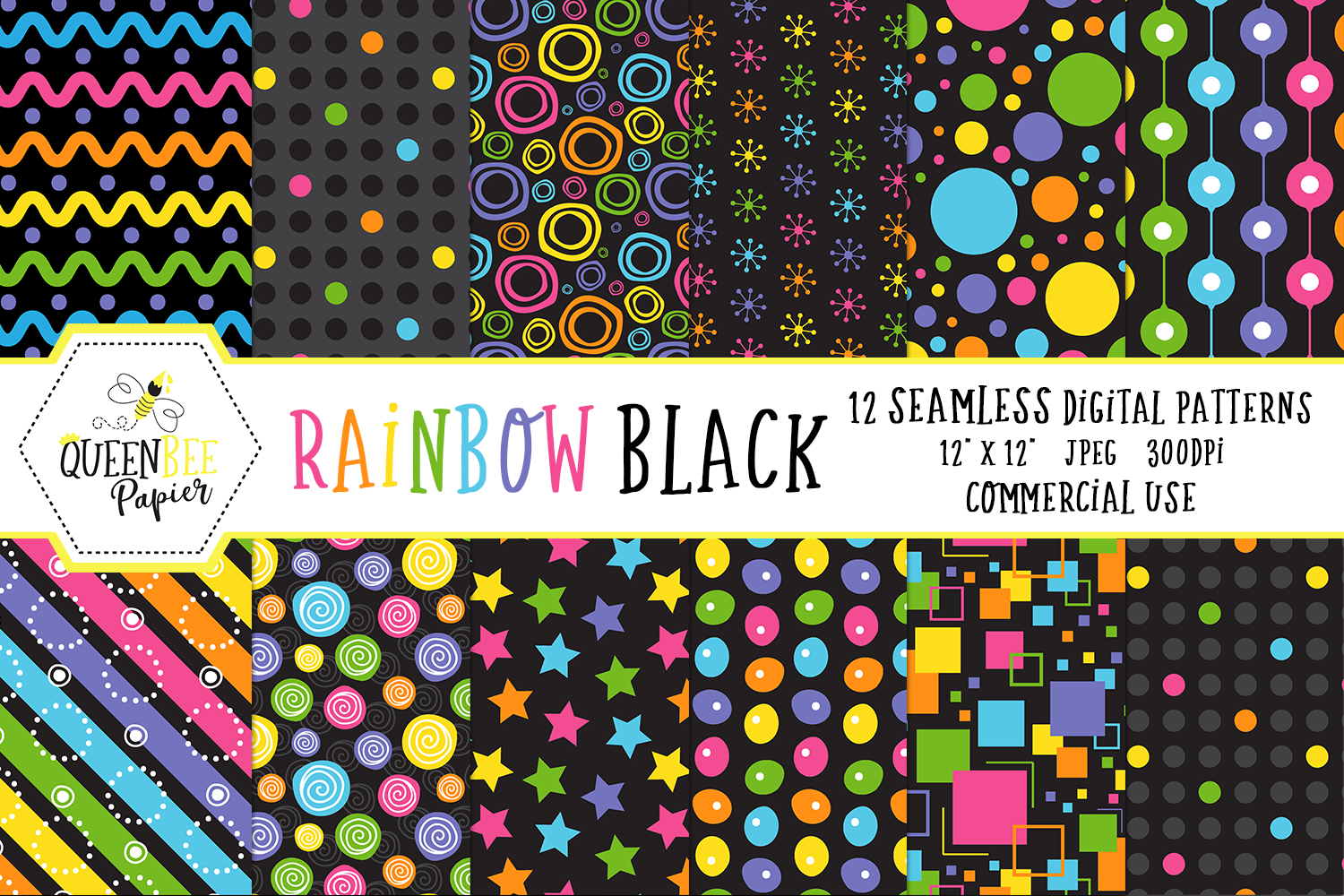 Download Free Seamless Rainbow Black Digital Paper Graphic By Queen Bee Papier for Cricut Explore, Silhouette and other cutting machines.