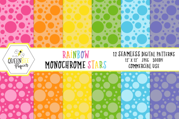 Download Free Seamless Rainbow Monochrome Polka Dots Digital Paper Graphic By for Cricut Explore, Silhouette and other cutting machines.