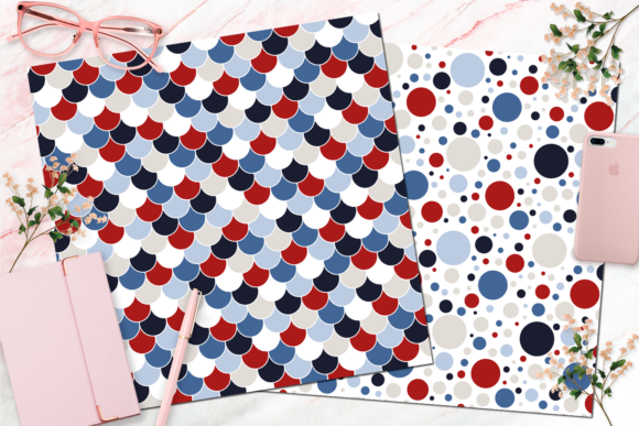 Seamless Red, White and Blue Digital Paper Graphic Backgrounds By Queen Bee Papier - Image 3