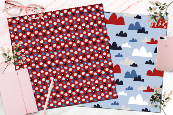 Seamless Red, White and Blue Digital Paper Graphic Backgrounds By Queen Bee Papier - Image 6