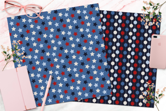 Seamless Red, White and Blue Digital Paper Graphic Backgrounds By Queen Bee Papier - Image 7